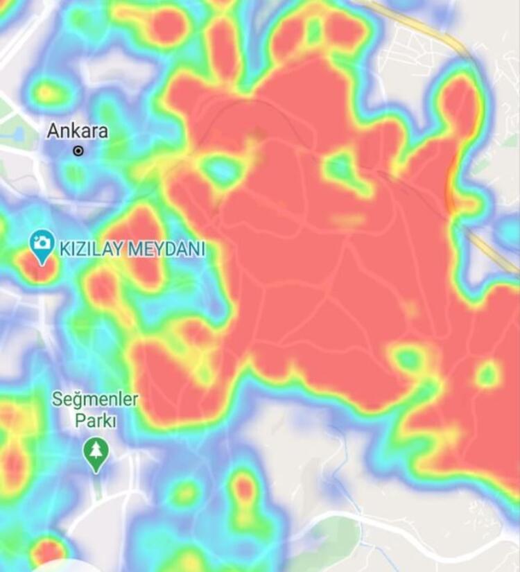 kızılay ankara koronavirüs yoğunluk haritası