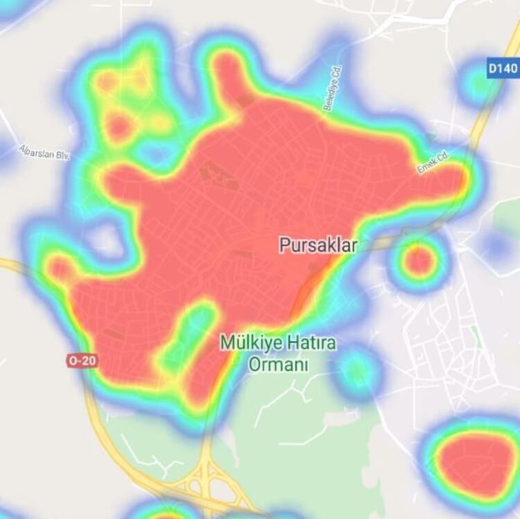 pursaklar ankara koronavirüs yoğunluk haritası